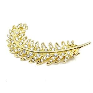 Swarovski Jewelry - SWAROVSKI~Pavé Crystal~GOLDEN FEATHER BROOCH PIN